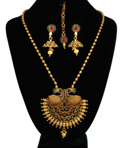 Gold Plated Peacock Necklace set