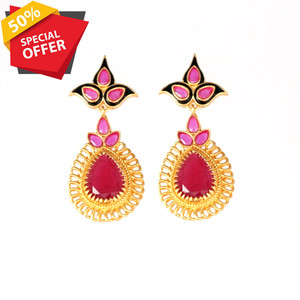 Indian Designs Traditional Bollywood Colorful CZ Chandelier Fashion Earrings