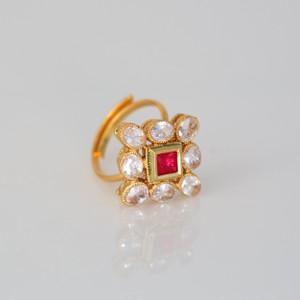 Indian Ethnic Gold Tone Kundan Polki Stone Adjustable Bollywood Ring Jewelry