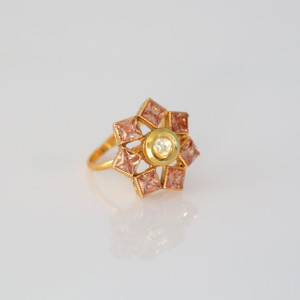 Gold plated Kundan style ring