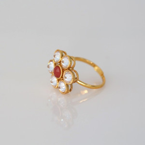 Kundan Polki Cocktail Bollywood Bridal Free Size Finger Ring.