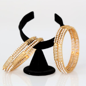 Indian Bollywood Traditional Gold Plated Pearls Bracelets Bangle Women's Jewelry