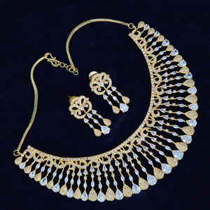 American Diamond CZ Gold Plated Designer Choker Jewellery Set