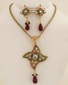 Antique Clear crystal pendant necklace-018ATQP
