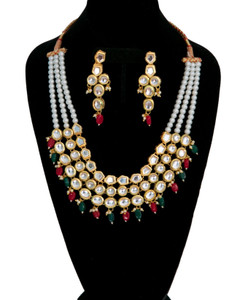 Trendy fashion Kundan necklace with stranded pearls string