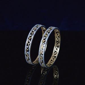 Ethnic Fusion CZ Floral Flower Designer Gold Plated AD Bangles for Women