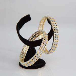 Traditional Ethnic Fusion CZ Designer Gold Plated AD Bangles for Women and Girls