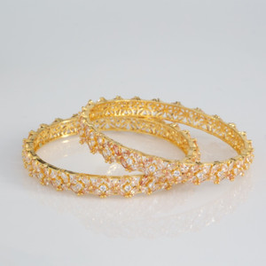 Traditional Ethnic Fusion Light pink CZ Floral Flower Designer Gold Plated AD Bangles for Women and Girls