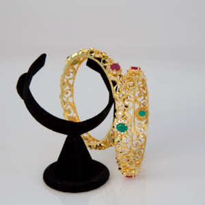 Ruby, Emerald CZ Designer Gold Plated AD Bangles Jewelry for Women and Girls