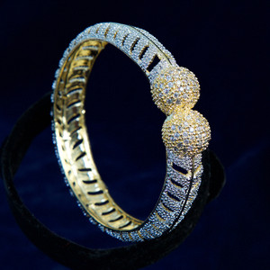 Bridal fashion Clear CZ Designer Gold Plated AD Bangles Jewelry for Women and Girls
