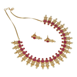 Gold plated fashion bollywood Bridal Jewelry Ruby stones with Pearls necklace set