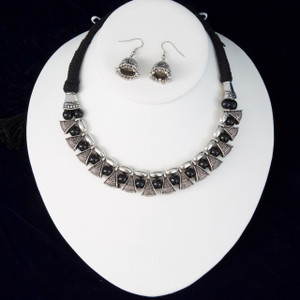 Black silk thread silver necklace and earrings set handmade Indian Jewelry