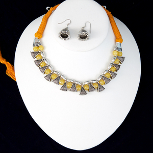 Mango Yellow silk thread silver necklace and earrings set handmade Indian Jewelry