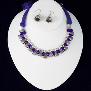 Navy Blue silk thread silver necklace and earrings set handmade Indian Jewelry