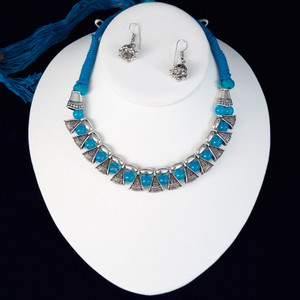 Aqua Blue silk thread silver necklace and earrings set handmade Indian Jewelry
