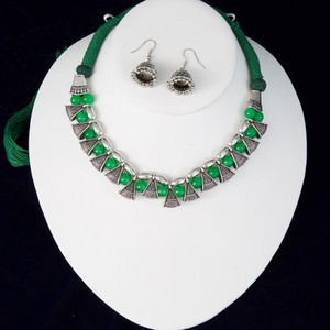 Green silk thread silver necklace and earrings set handmade Indian Jewelry