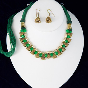 Green silk thread necklace and earrings set handmade Indian Jewelry