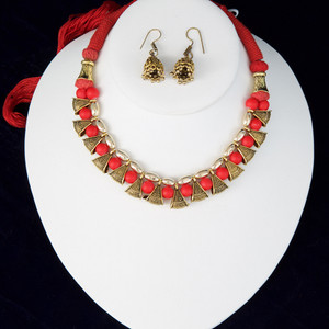 Red silk thread necklace and earrings set handmade Indian Jewelry