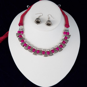 Magenta silk thread silver necklace and earrings set handmade Indian Jewelry