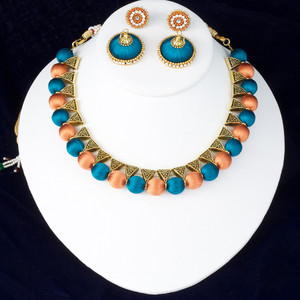 Orange and Teal Green Silk Thread Jewelry