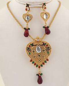 Antique clear crystal,garnet and green heart pendant neckalce-016ATQP