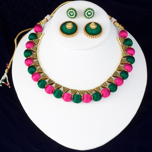 Dark Green and Pink Color Silk Thread Jewelry