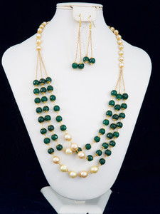 Green beaded and pearl necklace