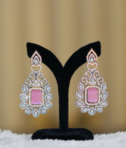 Cute Pink earrings CZ stone in floral designs.
