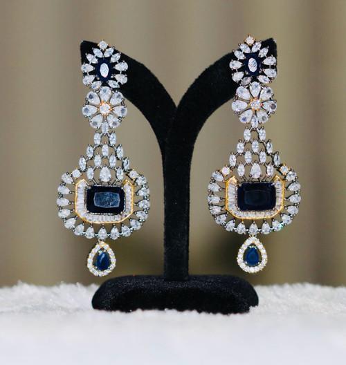 Sapphire Blue stone earrings for women