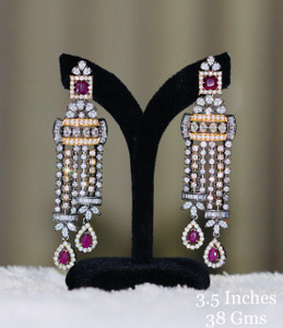 Long Drop Earrings in Ruby Red