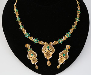 Bollywood Indian one gram gold jewelry  necklace |Emerald stone Studded
