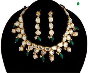 Green beads kundan stone necklace