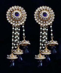 Sapphire Blue stones jhumka earrings