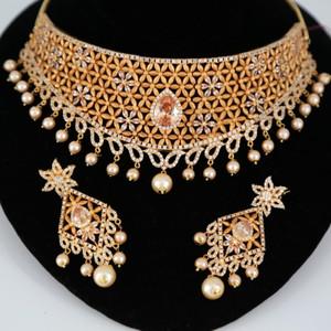 Topaz stone bridal AD necklace jewelry