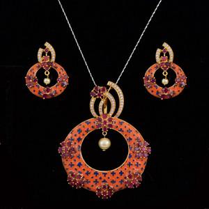 Orange meenakari work pendant