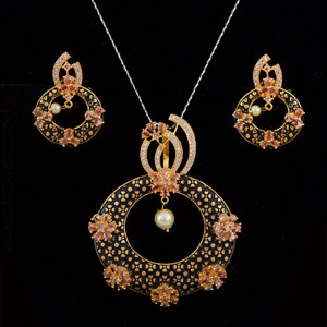 Faux pearl Meenakari work pendant earrings