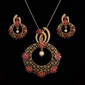 Ruby stone stud pendant