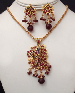 Antique Gold plated necklace with pendant embedded with red stones-22ATQP