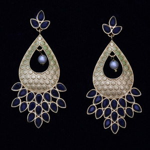 Sapphire Blue Kundan stone earrings