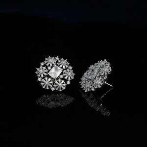 Cubic zirconia stud earrings | Silver zirconia earrings in floral designs.