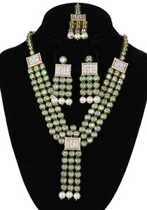 Bollywood style bridal multi strand White gold plated kundan necklace Earrings