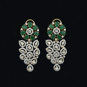 Emerald stone earrings , 1gram gold beautiful designed earrings.