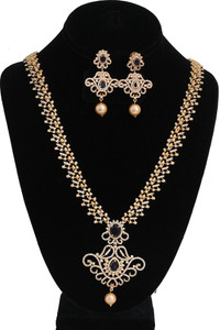 White Stone Long Necklace Set embellished with Sapphire Blue stones