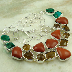 Gemstone Necklace with Multi Quartz fashion jewelry