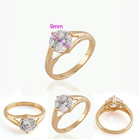 18K gold plated ring with round white CZ zircon stone