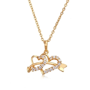 18 karat Gold plated Heart shaped pendant crystal costume jewelry