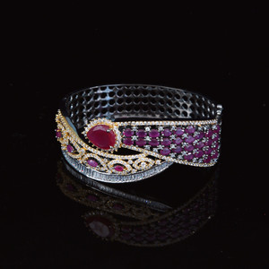 14K Gold Silver plated Bracelet fashion Jewelry with ruby stone