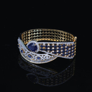 Bollywood Zircons Made Bracelet Gold Tone Sapphire Blue American Diamond Jewelry