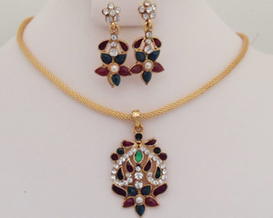 Antique Gold plated necklace with pendant studded with red and green stones jewelry