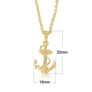 Gold tone tiny anchor charm pendant jewelry